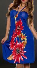 Sexy Miss Damen Neckholder Kleid Strass Dress 34/36/38 Blumen blau bunt TOP