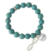 Turquoise Stretch Bracelet with Infinity Charm  FREE SHIPPING New fashion