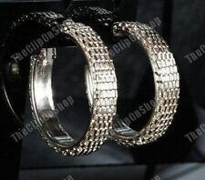CLIP ON chunky MESH thick hoops BIG 3cm HOOP EARRINGS weave GOLD/SILVER urban