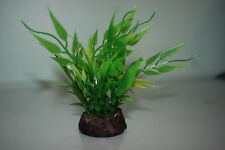 Aquarium Arrowhead Style Plastic Plant 12 inches High Green & Black Base