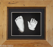 New Boy Girl Unisex 3D Baby Casting Kit Hand Foot Feet Cast Rustic Wooden Frame