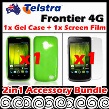 Telstra Frontier 4G Telstra Green Soft Jelly TPU Gel Case Cover Screen Protector