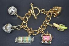 Juicy Couture Charm Bracelet w/ Banana/Candy Roll/ Crown/Ball/Pave Heart READ