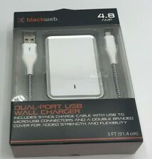 BlackWeb Dual Port USB Wall Charger White 4.8 AMP w. 3 ft Sync Charge Cable New