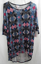Womens LuLaRoe Irma Shirt MEDIUM Black Fuchsia White Dark Teal NWT