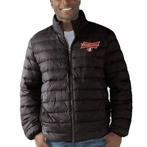 NASCAR Men's Black Full Zip Budweiser Kevin Harvick #4 Packable Quilted Jacket