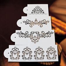 4stk. Torten.Blumen Spitze Schablone Form Kuchen Backen Deko Werkzeug Stencil