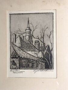 ELIZABETH O'NEILL VERNER ETCHING PRINT ROOFTOPS CHARLESTON  PEN. SIGNED ANTIQUE