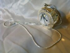 Vintage Image Horse Head Glass Dome Horse Locket Rhodium Plated Italy 925 Chain