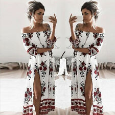 US Women Off Shoulder Boho Long Maxi Evening Party Beach Dress Sundress L