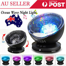 Ocean Waves LED Night Light Projector Relaxing Lamp MP3 Speaker Timer AU Stock
