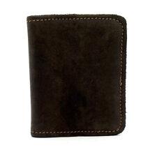 Vintage Hand Made Mens Leather Bifold Card Holder Wallet Brown