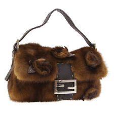 FENDI SELLERIA Mamma Baguette Hand Bag Purse Brown Fur Leather Vintage S09674