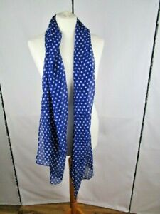 Navy and white spot long scarf .Neckwear/accessory/fashion/style
