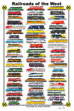 """Railroads of the West 11""""x17"""" Railroad Poster by Andy Fletcher signed"""