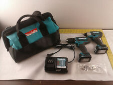 "Makita 12V FD05 3/8"" Drill/Driver & DT03 Impact Driver Kit 2 Batteries Charger"