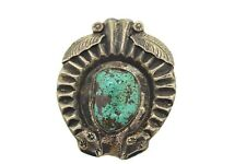 Sterling Silver & Turquoise Bolo Tie Vintage Tom Charley Old Pawn Squash Blossom
