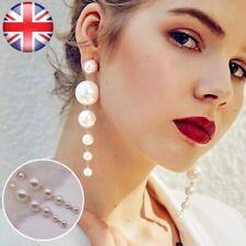 Perla Oro Cadena Colgantes Pendientes de Gota de declaración Elegante Fiesta Regalo UK