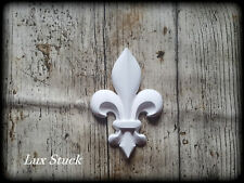 4x Gips Französische Lilien Verzierung  Dekor Ornament  Stuck gips Relief