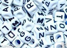 100pcs 7mm cube white alphabet letter beads