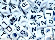 100pcs 7mm cubo bianche ALFABETO LETTERA beads
