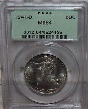 1941-D PCGS Walking Liberty Half Dollar PCGS MS 64 OGH Mint Luster!