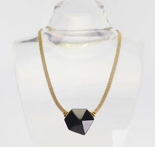 Vintage gold tone mesh and black plastic abstract modernist necklace by Trifari