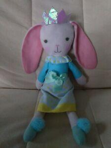 "Target Princess Bunny Plush Doll, 12"" Blue Yellow Polka Dot Dress Crown Pom Pom"