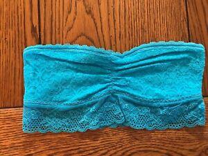 Aerie American Eagle Women's Juniors Turquoise Lace Bandeau Bra EUC Size S