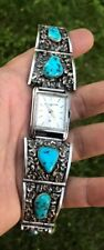 GIRARD PERREGAUX  Watch With Turquoise Navajo Silver Band Signed Band