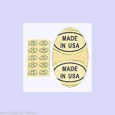 """100 Peel Off Adhesive Labels tags ~ Oval 1/2"""" x 5/16"""" Marked """"Made In Usa"""""""
