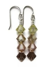 Yellow Peach Ombre Swarovski Crystal Beaded Sterling Silver Dangle Earrings