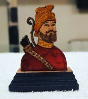Sikh Guru Gobind Singh Ji Wood Carved Photo Portrait Singh Kaur Desktop Stand C4