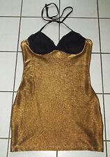FASCHING Kleid Gr. L 40 42 Partykleid Disco STRETCH Kleid Schwarz Gold