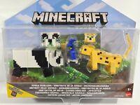 Minecraft Comic Maker Jungle Dwellers Action Figure 2-Pk Panda Leopard Parrot ~
