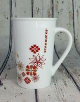 Starbucks Mug Coffee Tea Tall Cup Poinsettia Flowers 12 Oz Christmas Gift