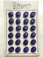 Carte de 24 boutons vintage ELEGANT - Verre bleu peint fushia et vert 8 x 11 mm