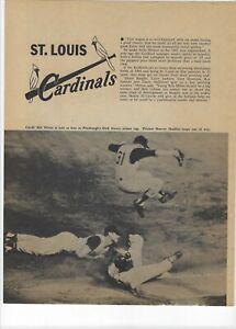1960 St. Louis Cardinals Major League Baseball Magazine 2 Full Pages Print Ad