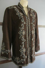 Silkland Jacket Top Espresso Brown Embroidered Aqua Bohemian Plus Size 1X 18 20