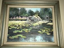 Signed Ward Mann Oil Painting Lily Pads Lotus Flowers  w/ Bio Registered 1986