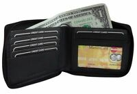 Men's Genuine Leather Zip Around Bi-Fold Zipper Wallet New Black Or Brown