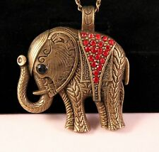 Alloy Red Rhinestone Rustic Elephant Pendant Necklace w/Free Jewelry Box/Ship