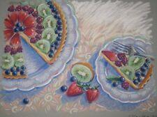 ORIGINAL Barbara Maslen 'FRUIT TART' Dessert ILLUSTRATION Painting - Listed NY
