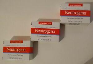 Lot Of 3 Neutrogena Transparent Facial Bar-Acne-Prone Skin Formula Soap 3.5oz