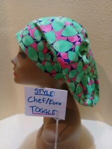 Leaves (pink and green) Women's  Euro/Chef Surgical Scrub Hat/Cap Handmade