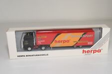 V 1:87 HERPA IVECO TRUCK WITH TRAILER MOTOR SPORT MINT BOXED