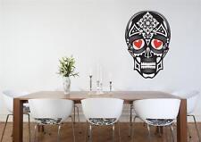 Wall Art Vinyl Decal Transfer Red Heart Eyes Sugar Skull Day of the Dead