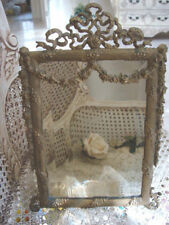 Old French Beveled Mirror Ornate Metal Frame Swags, Bows & Garlands *Big Sale*