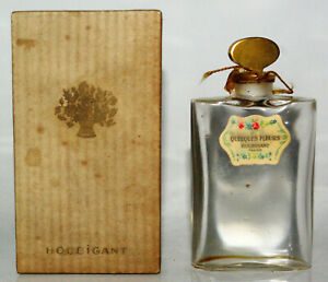 Houbigant Antique Bottle Of Perfume Crystal Some Flowers Packaging Years 1930