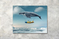"16x20""Aerial Whales Boy Boat Modern Art Poster Prints Wall Decor Canvas Painting"